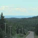 Highway 1, traveling east through Minnesota.  Lake Superior in the background.